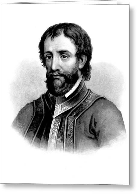 Greeting Card featuring the photograph Hernando De Soto, Spanish Conquistador by British Library