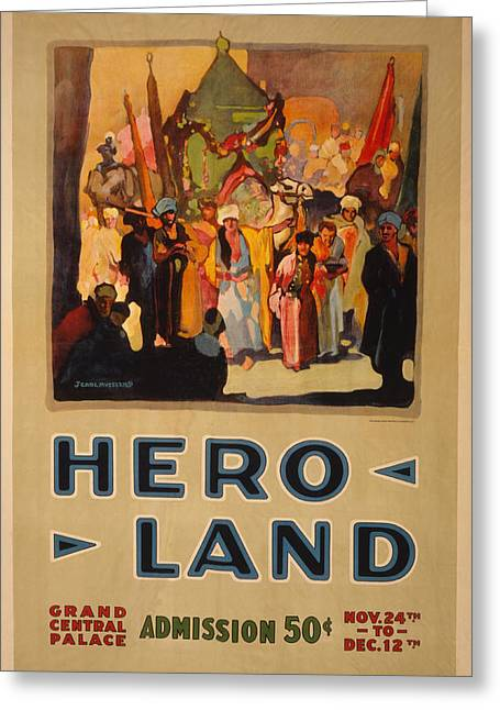 Hero Land Poster Greeting Card by Underwood Archives