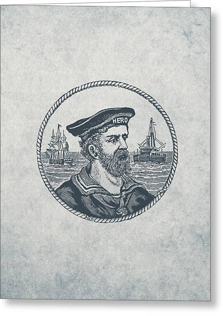 Hero Sea Captain - Nautical Design Greeting Card by World Art Prints And Designs