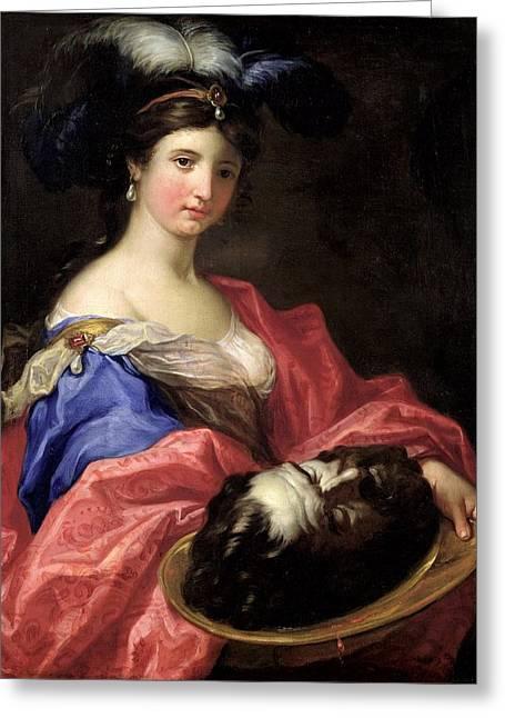 Herodias Oil On Canvas Greeting Card by Domenico the Elder Piola