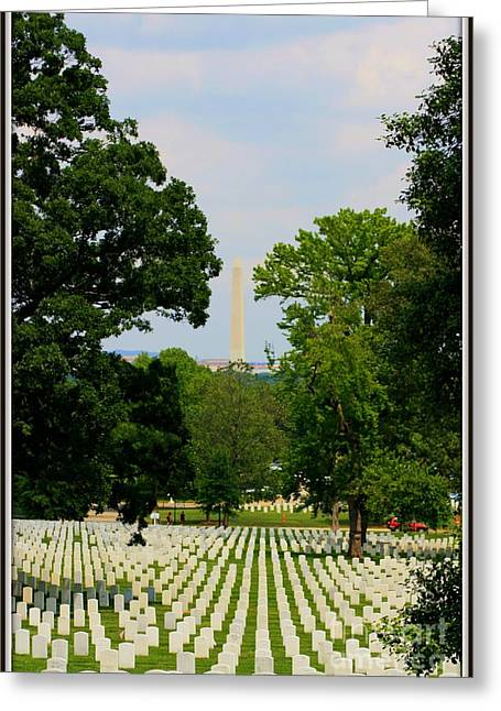 Heroes And A Monument Greeting Card by Patti Whitten