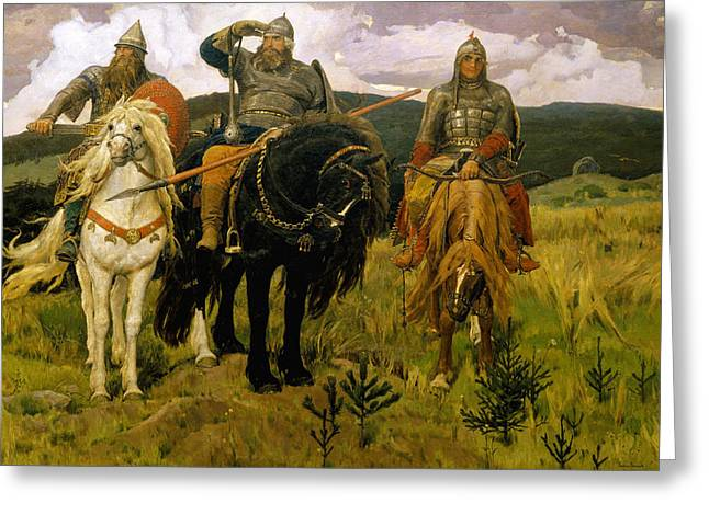 Heroes. Bogatyri Greeting Card by Viktor Vasnetsov