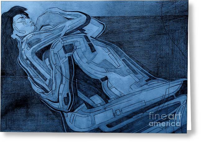 Heroes In Blue Drawing  Greeting Card