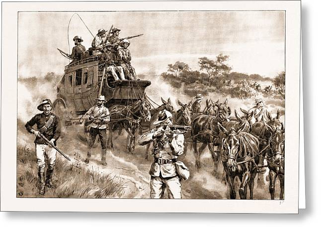 Heroic Deeds In The Matabele War Defending The Mail Coach Greeting Card by Litz Collection