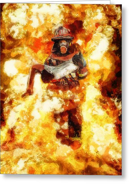 Heroic Firefighter Greeting Card