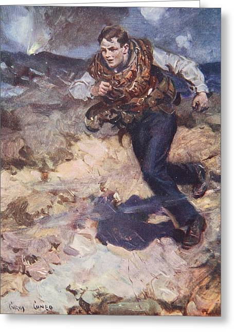 Heroic Middy Carrying Ammunition Greeting Card by Cyrus Cuneo