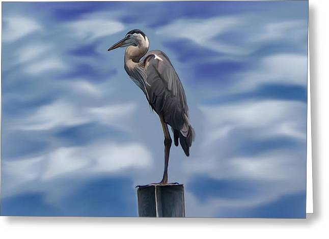 Heron 1 Greeting Card by Karen Sheltrown