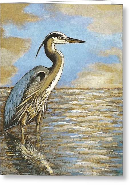 Greeting Card featuring the painting Heron At Bay by VLee Watson