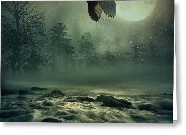 Heron By Moonlight Greeting Card