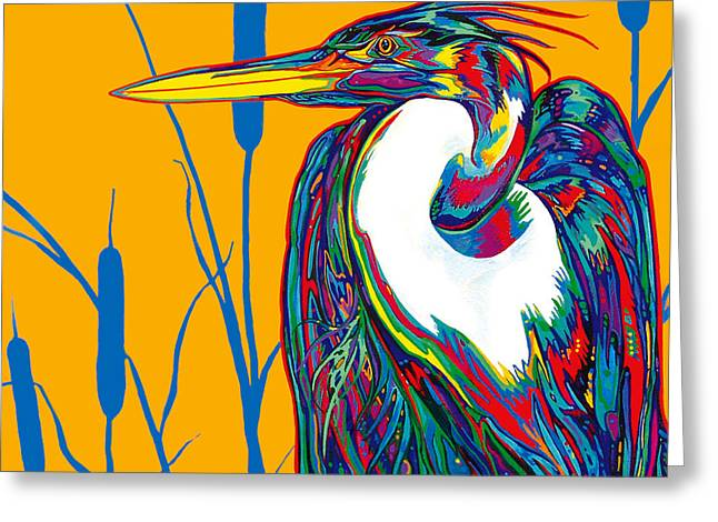 Heron Greeting Card by Derrick Higgins
