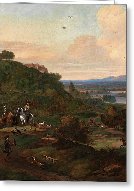 Heron Hawking Below Stirling Castle Hawking Scene Signed Greeting Card by Litz Collection