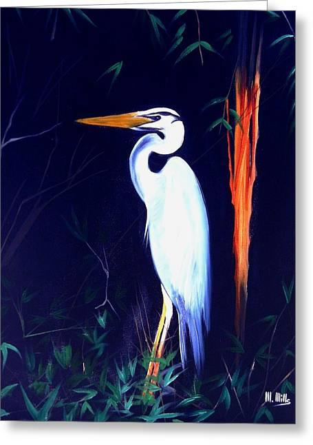 Heron In Bamboo Greeting Card