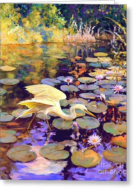 Heron In Lily Pond Greeting Card