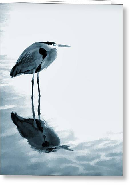 Heron In The Shallows Greeting Card