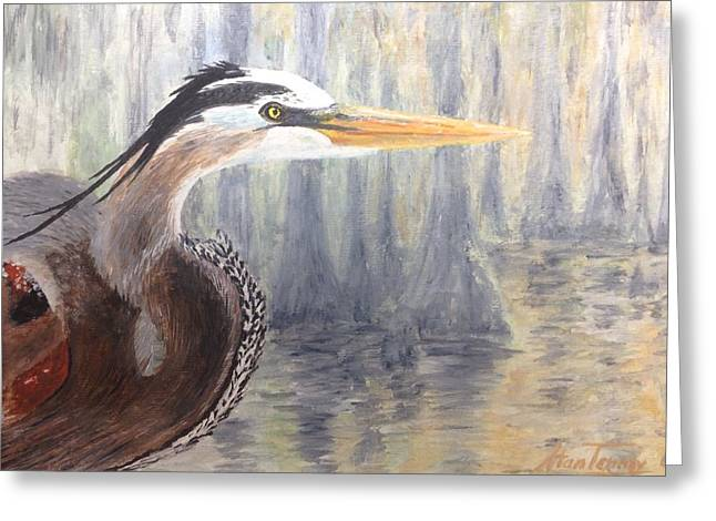 Greeting Card featuring the painting Heron by Stan Tenney