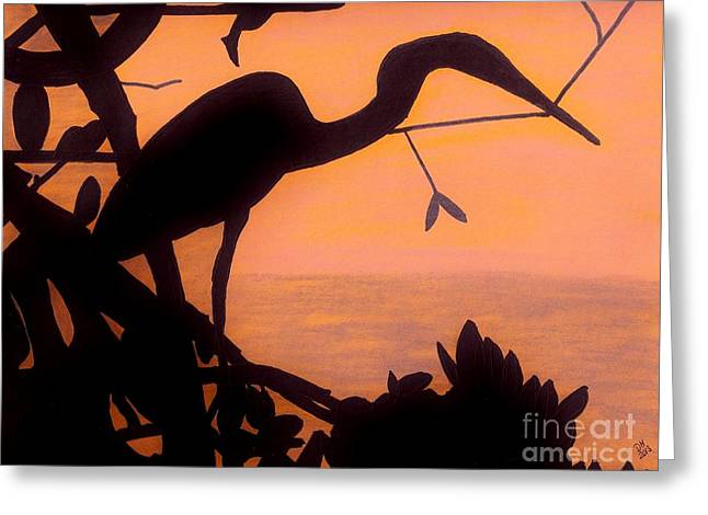 Greeting Card featuring the drawing Heron Sunset by D Hackett