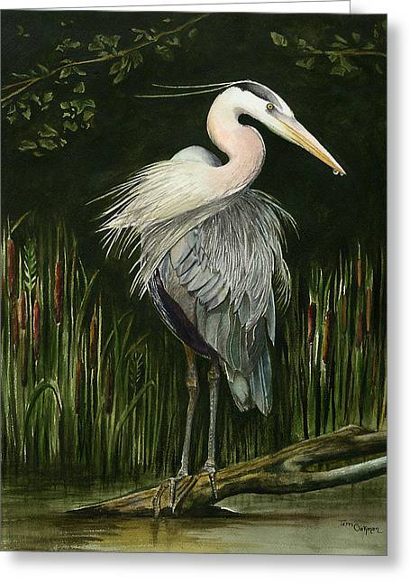 Heron Greeting Card by Terri  Meyer