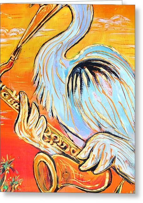 Heron The Blues Greeting Card by Robert Ponzio