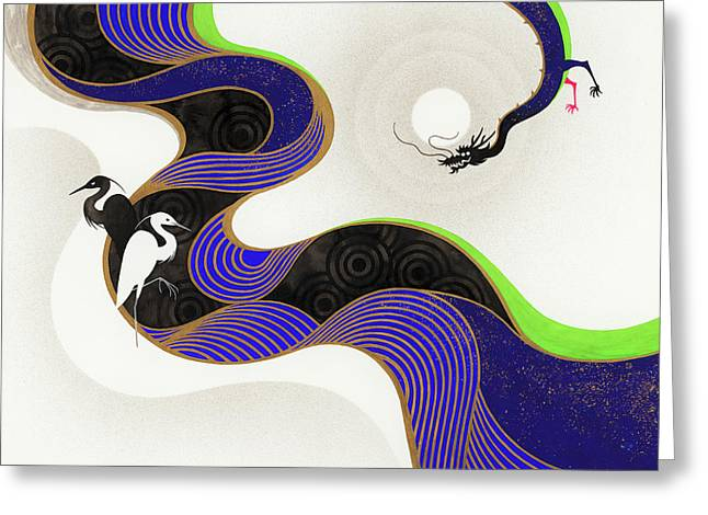 Herons Across Twisting River From Dragon Greeting Card