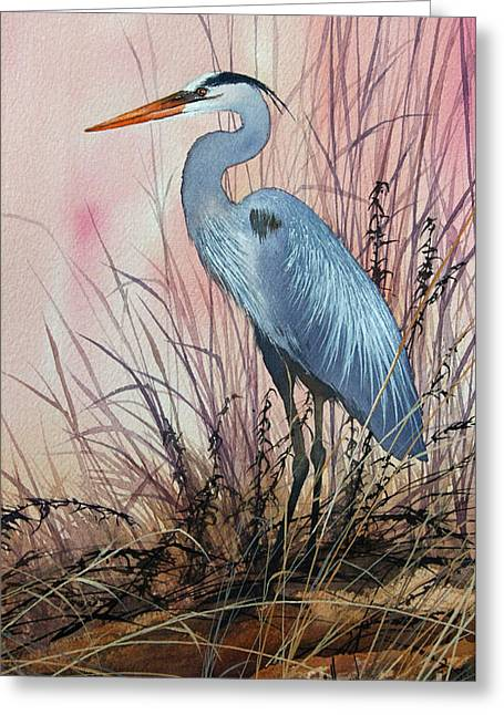 Herons Evening Shore Greeting Card by James Williamson