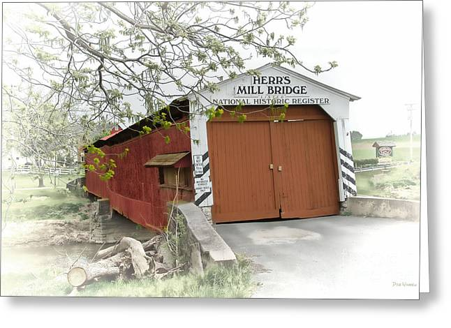 Herr's Mill Historic Bridge Greeting Card by Dyle   Warren