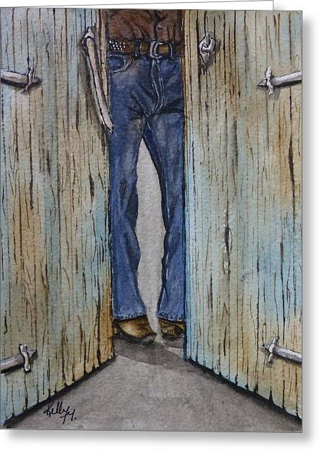 Greeting Card featuring the painting Blue Jeans Looking Good by Kelly Mills