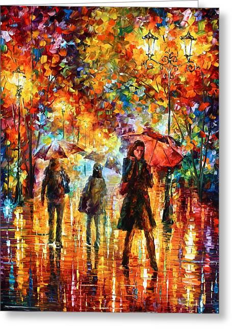 Hesitation Of The Rain Greeting Card by Leonid Afremov