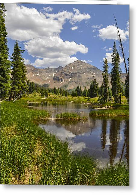 Hesperus Mountain Reflection Greeting Card by Aaron Spong