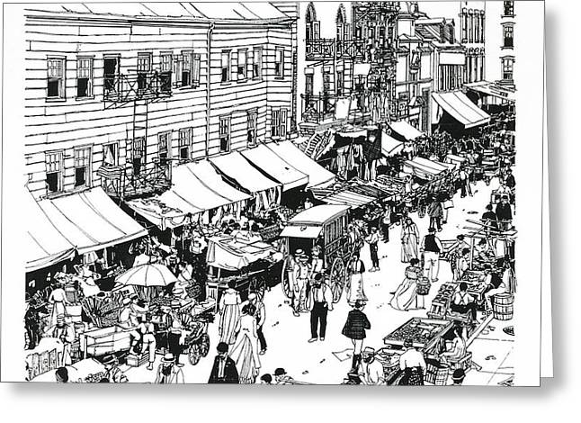 Greeting Card featuring the drawing Hester Street by Ira Shander