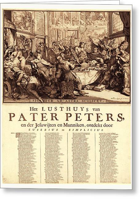 Het Lusthuys Van Pater Peters, En De Jesuwijten En Munniken Greeting Card by Litz Collection
