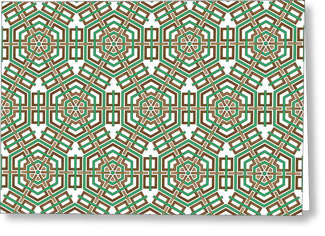 Hexagon And Square Pattern Greeting Card by Jozef Jankola