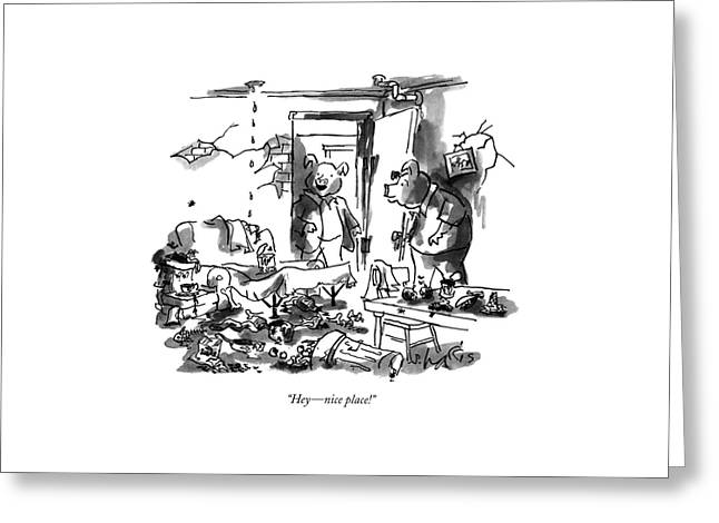 Hey - Nice Place! Greeting Card by Sidney Harris