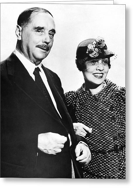 H.g. Wells And Anita Loos Greeting Card