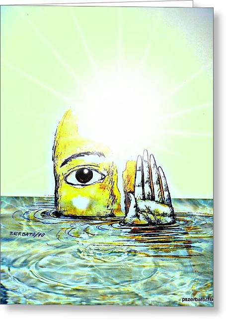 Hi I Am Your Conscience Greeting Card by Paulo Zerbato