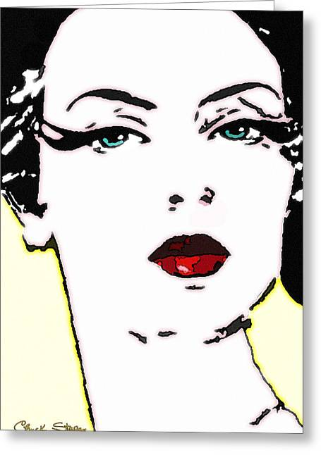 Hi Contrast Lady Greeting Card by Chuck Staley