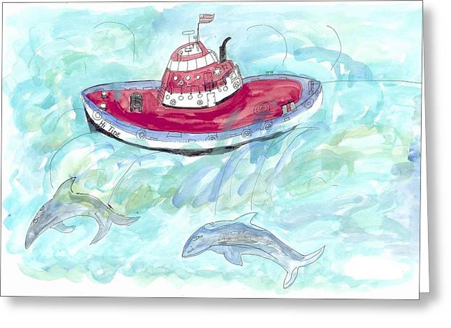 Greeting Card featuring the painting Hi Tide by Helen Holden-Gladsky