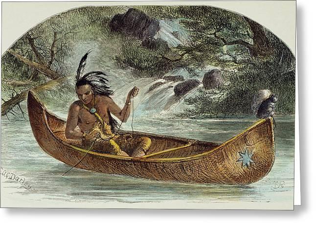 Hiawatha Fishing For Nahma Greeting Card by Granger