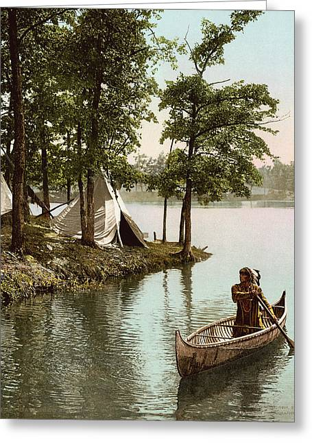 Hiawatha's Arrival Greeting Card by Underwood Archives