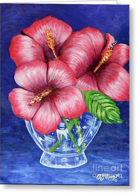 Hibiscus In Glass Vase Greeting Card
