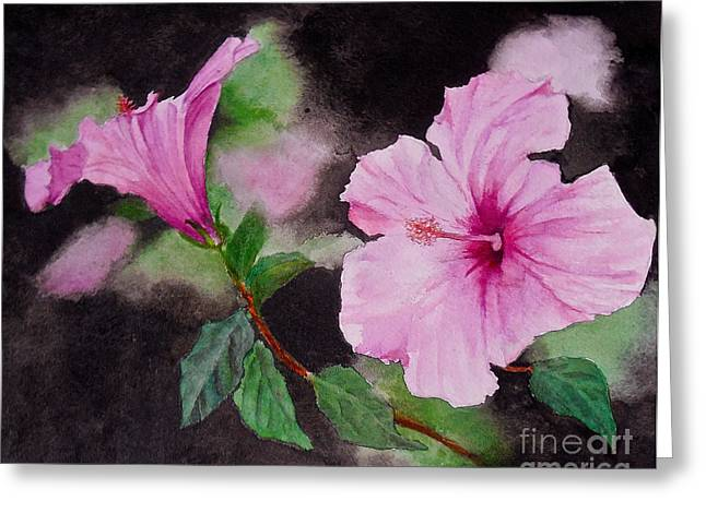 Greeting Card featuring the painting Hibiscus - So Pretty In Pink by Sher Nasser