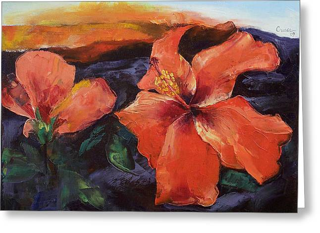 Hibiscus Volcano Greeting Card by Michael Creese