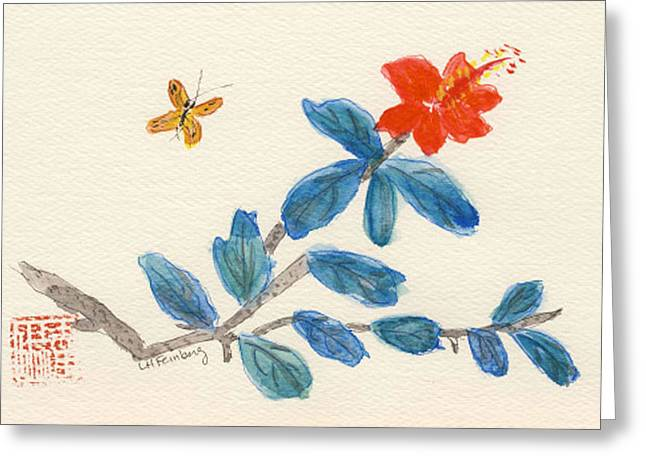 Hibiscus With Butterfly Greeting Card
