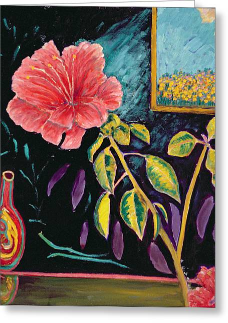 Hibiscus With Vase Greeting Card