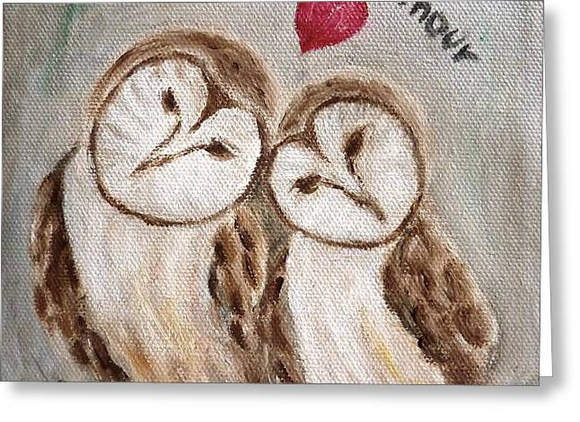 Hiboux Dans L'amour Greeting Card by Victoria Lakes