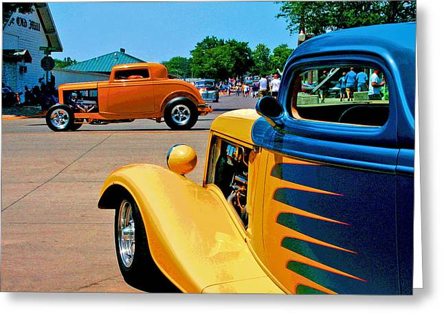 Greeting Card featuring the photograph Hiboy Over Fender Custom by Christopher McKenzie
