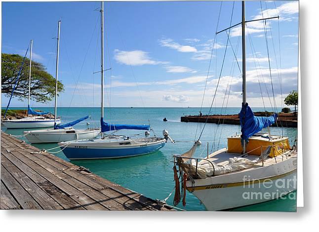 Hickam Harbor Greeting Card by Gina Savage