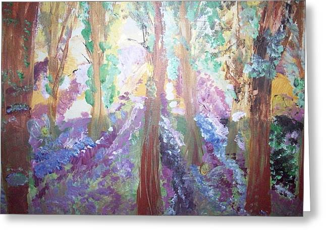 Greeting Card featuring the painting Hidden Forest Fairies by Judith Desrosiers