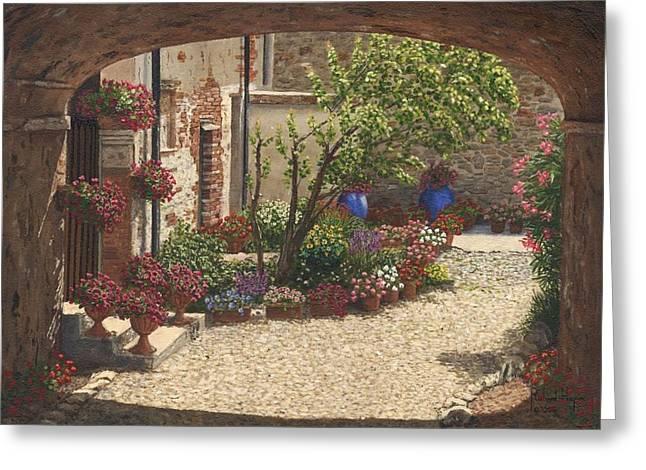Hidden Garden Villa Di Camigliano Tuscany Greeting Card by Richard Harpum