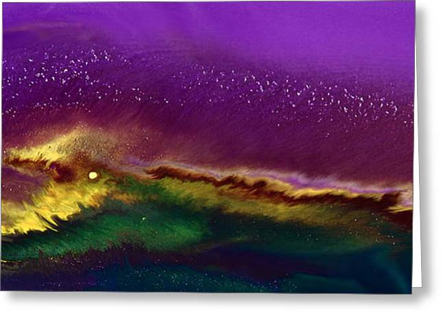 Hidden Moon Fluid Art By Kredart Greeting Card