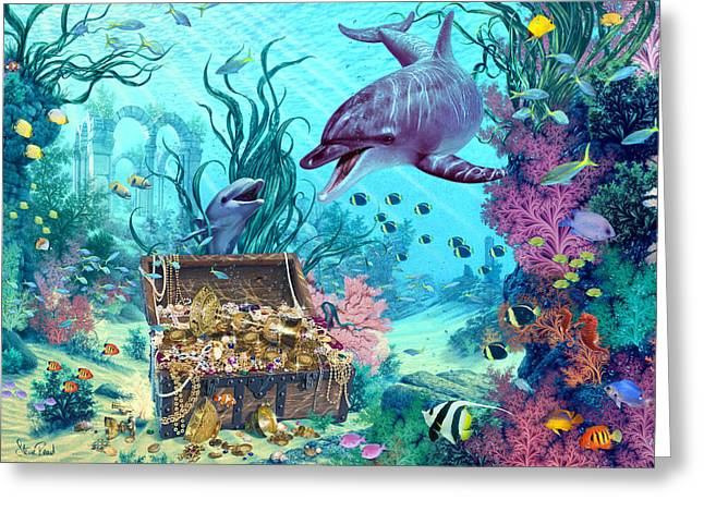 Hide And Seek Dolphins Greeting Card